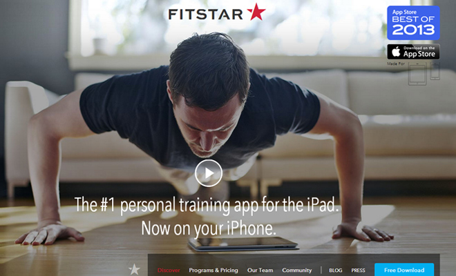 fitstar website training iphone app homepage