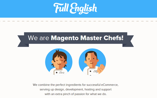 simple full english magneto website homepage animation