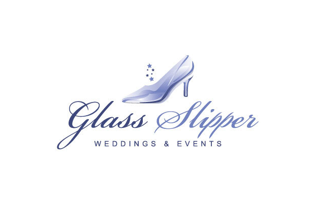 glass slipper wedding events logo branding