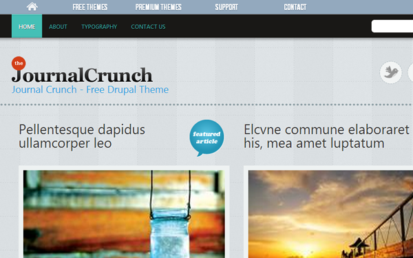 journal crunch website interface layout design
