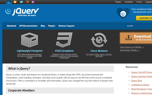 jquery open source javascript library website 2014