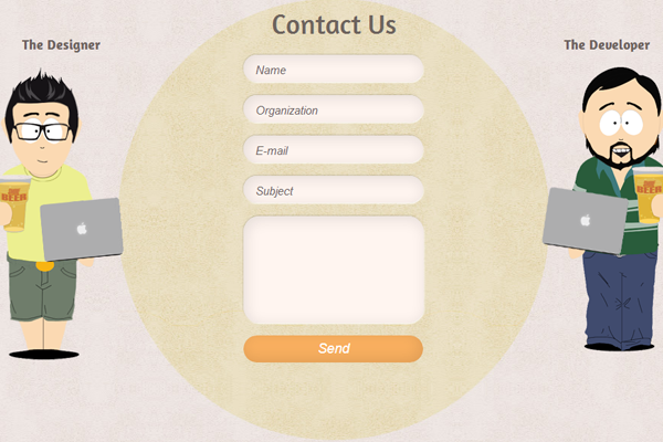 studio contact form webpage inspiration