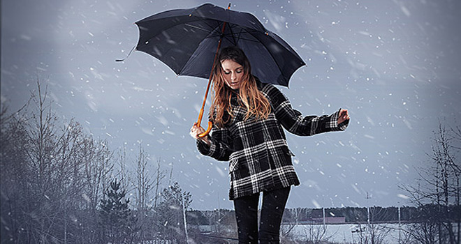 composite real falling snow