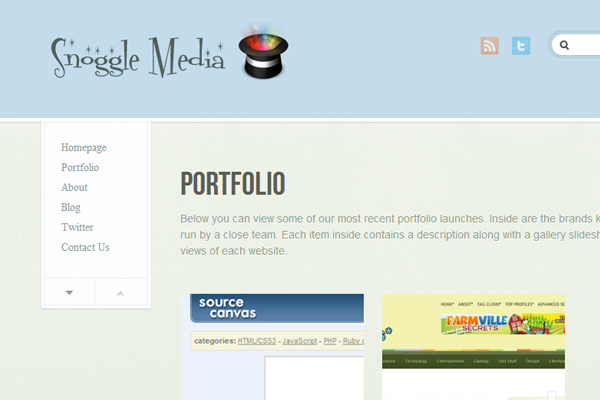 Digital Snoggle Media startup layout