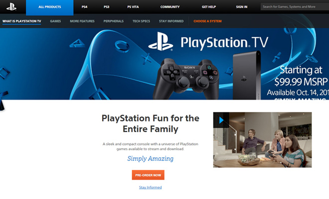 sony playstation tv gadget website