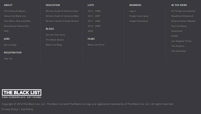 the black list symmetrical footer