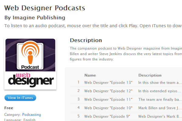 web designer magazine podcast design itunes