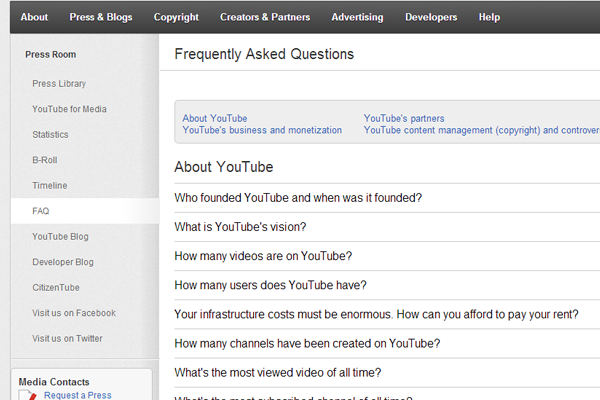 YouTube FAQ frequently asked questions help support page