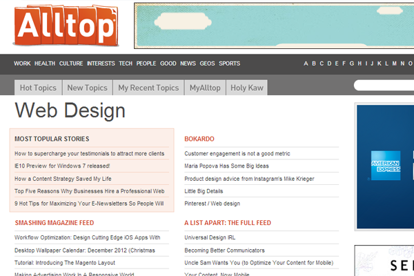 Alltop Web Design News website resources