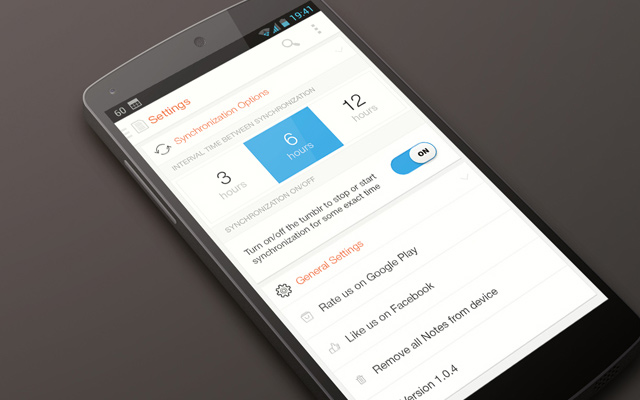 mobile android app ui design settings page
