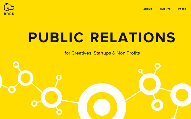 bark public relations pr website yellow