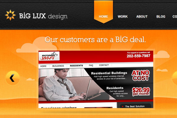 Orange website layout design BigLux Luxurious Website Agency