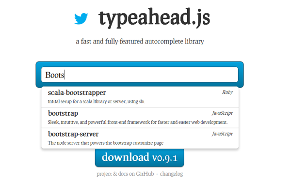 simple twitter autocomplete library framework