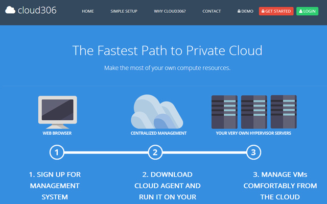 cloud306 servers hosting homepage flat icons
