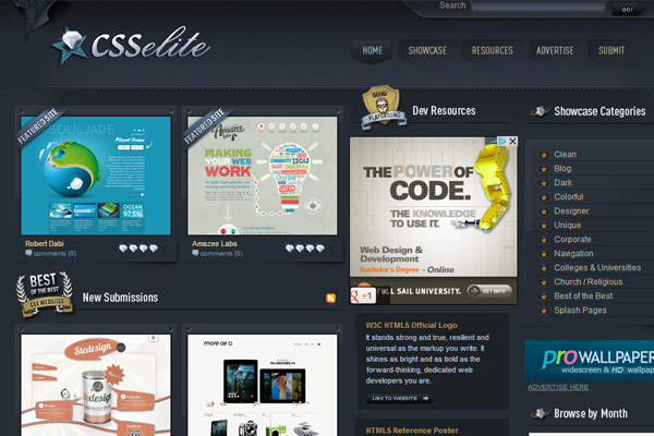 csselite website gallery showcase designs