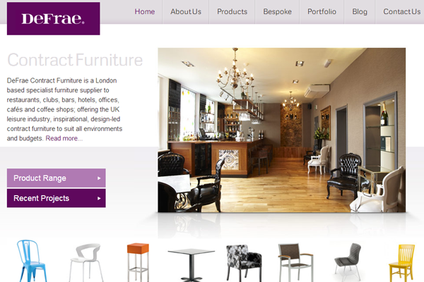 Interior furniture web shop ecommerce layout