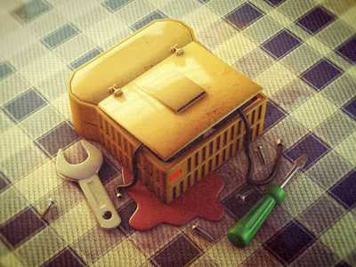cute illustration shot wrench sandwich
