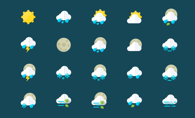 flat glossy colorful weather iconset