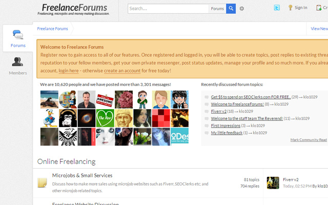 freelance forums design website layout interface ui