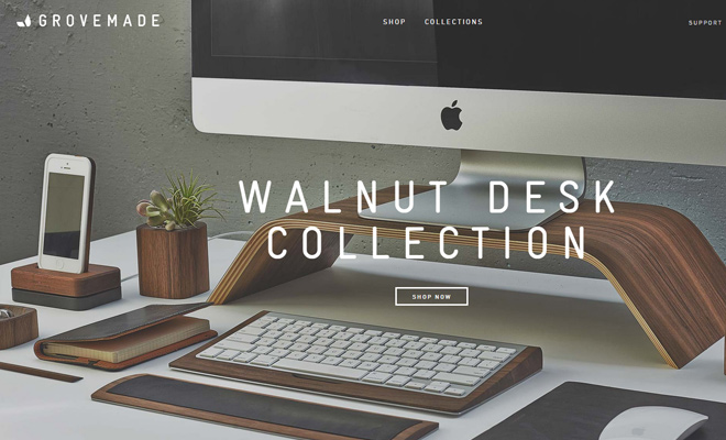 grovemade website wooden products fixed nav