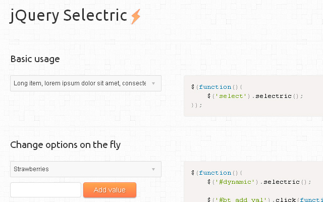 selectric jquery plugin dropdown select menus
