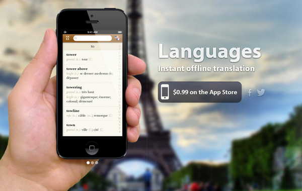 iPhone Languages iOS App website layout