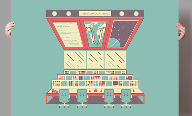 mission control poster design print graphic
