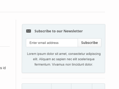 Simple web 2.0 subscription box sidebar