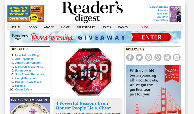 readers digest website magazine