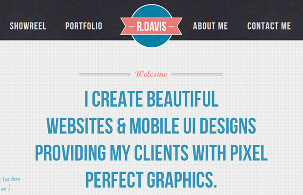 rob davis graphic designer portfolio clean website background