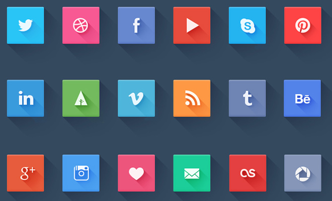 flat square shadow social icons