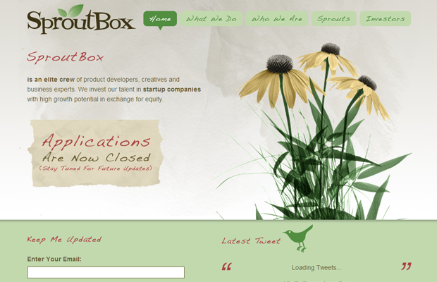 sproutbox website green flowers scenery layout