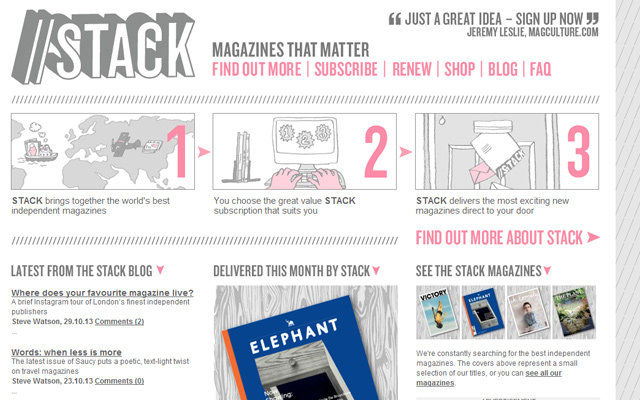 stack independent magazines pink outline website layout
