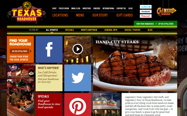 texas roadhouse steakhouse homepage layout