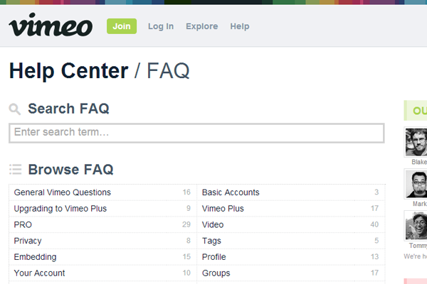 Online Vimeo support FAQ webpage system