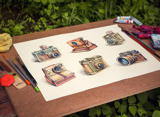 vintage camera icons drawing paint colorful