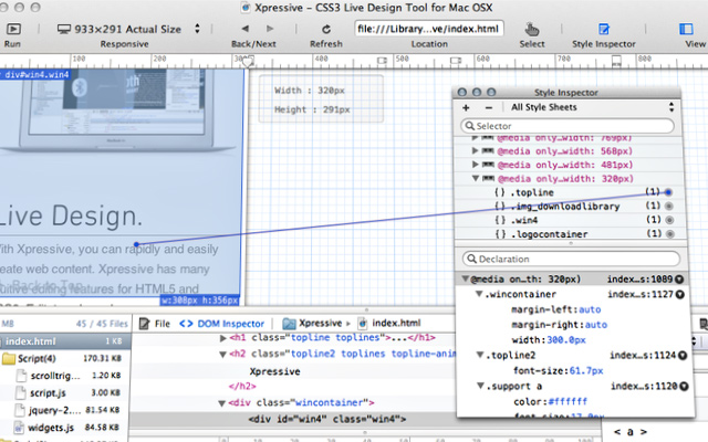 xpressive css3 live design editor ide open source