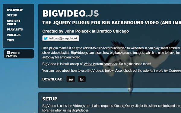javascript bigvideo js open source plugin