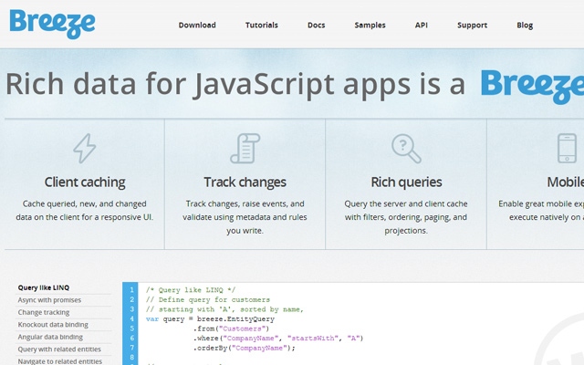 breeze open source javascript library breezejs
