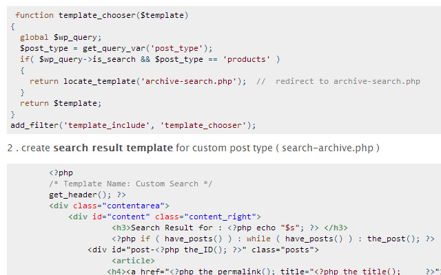 coding wordpress custom post type search