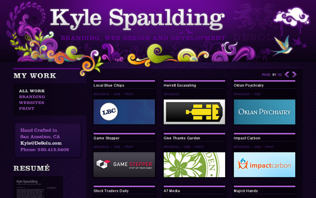 desolu spaulding personal purple website layout