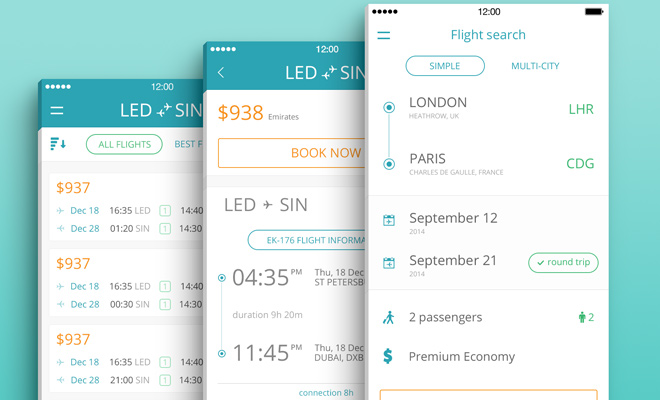 mobile ui app flight search psd freebie