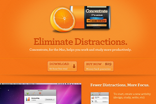 orange website OS X Mac App website layout