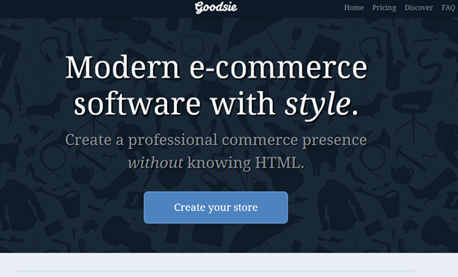goodsie website header startup layout
