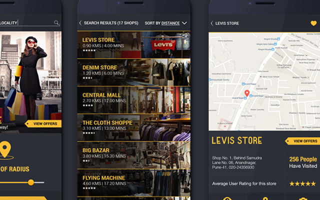 dark yellow android ui app design