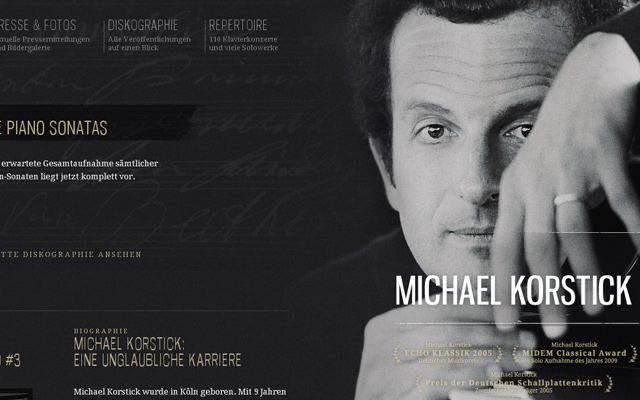michael korstick musician personal dark website layout
