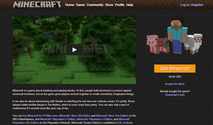 game minecraft homepage layout