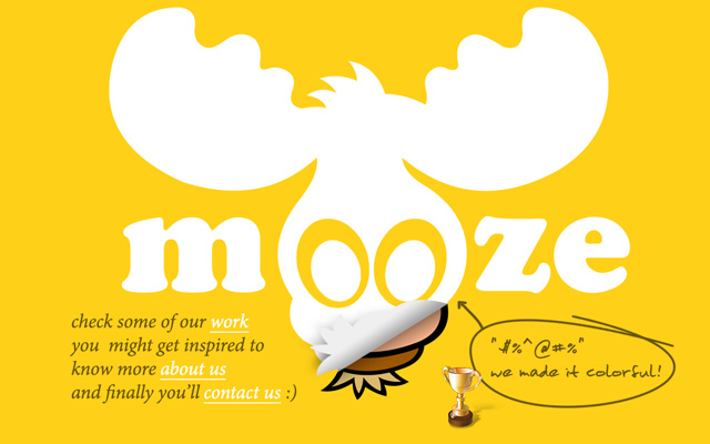 mooze design yellow website design homepage