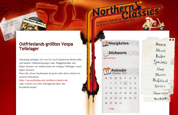 northern classics red homepage animated layout