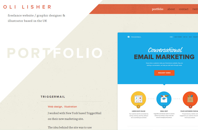 oli lisher portfolio website design layout
